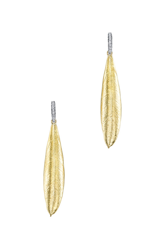 Aaron Henry 18K Gold & Silver Diamond Olive Leaf Earrings