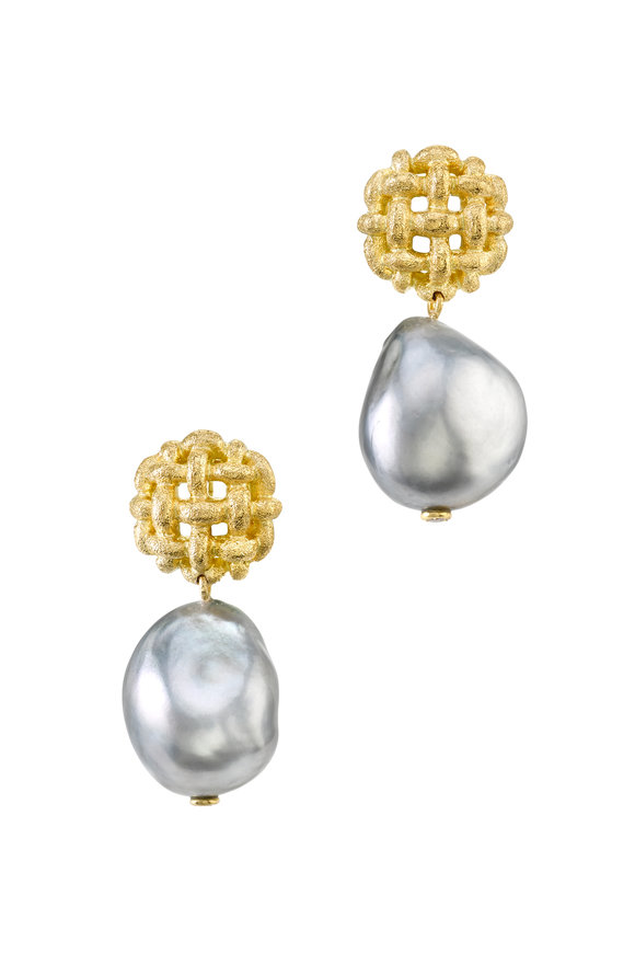 Aaron Henry 18K Yellow Gold Tahitian Pearl Drop Earrings