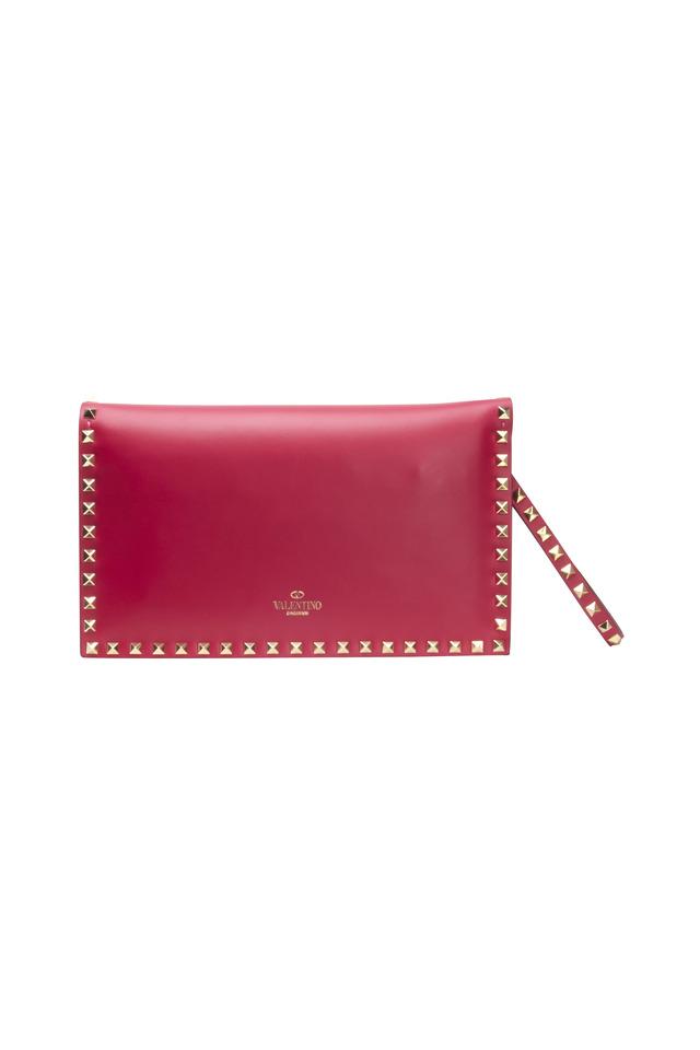 Rockstud Fuschia Leather Clutch
