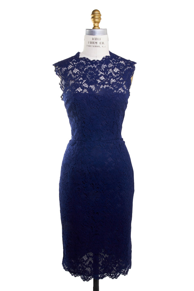 Navy Blue Lace Back Bow Detail Sleeveless Dress