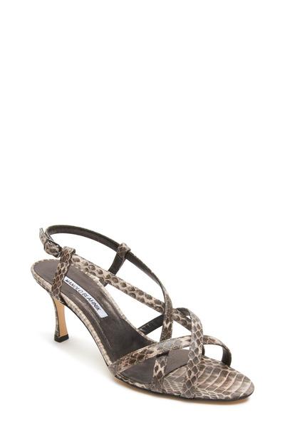 Manolo Blahnik - Scarsomod Pink & Grey Snakeskin Strappy Sandals