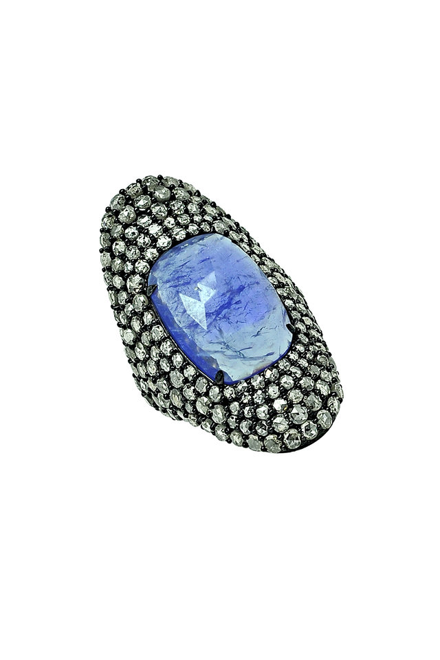 18K Blackened Gold Tanzanite & Diamond Ring