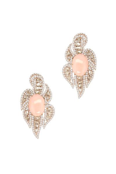 Sutra - 18K Rose Gold Opal & Diamond Earrings