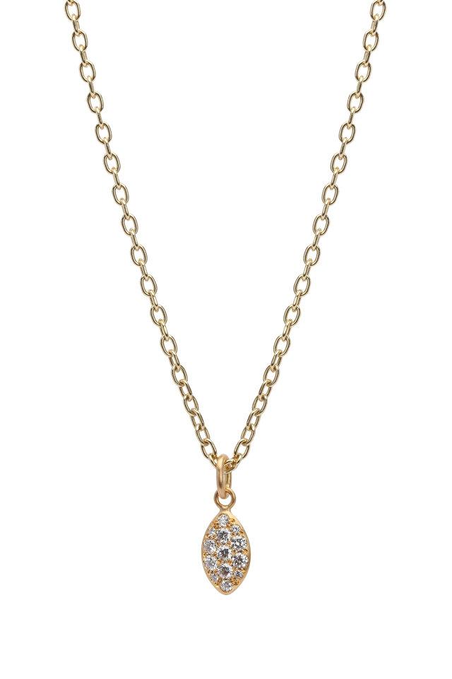 20K Gold Diamond Lemon Lentil Pendant Necklace