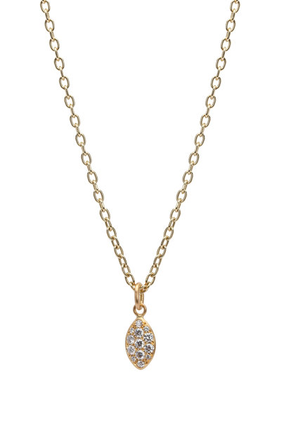 Caroline Ellen - 20K Gold Diamond Lemon Lentil Pendant Necklace
