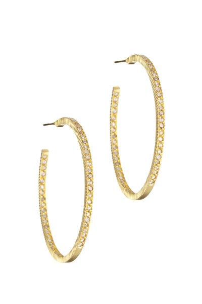 Yossi Harari - 18K Gold Pavé Cognac Diamond Hoops