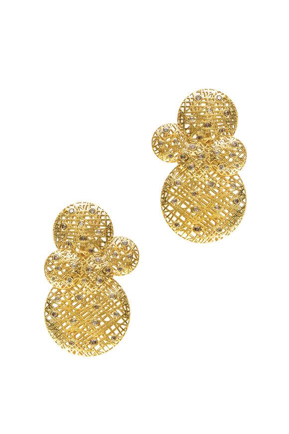 Yossi Harari 18K Yellow Gold Champagne Diamond Lace Earrings