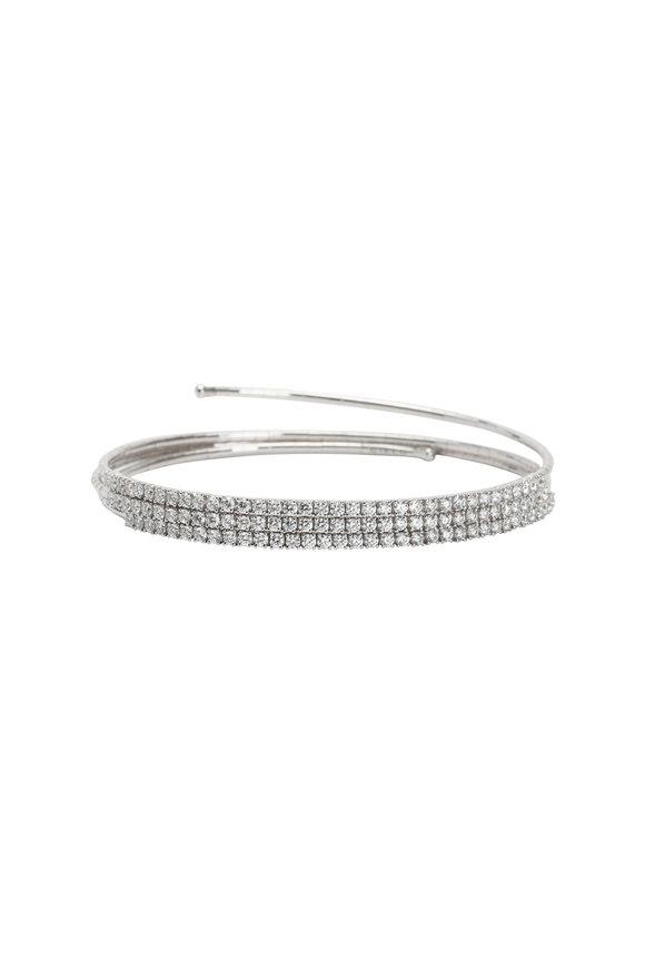 Mattia Cielo 18K White Gold Diamond 3 Coil Bracelet