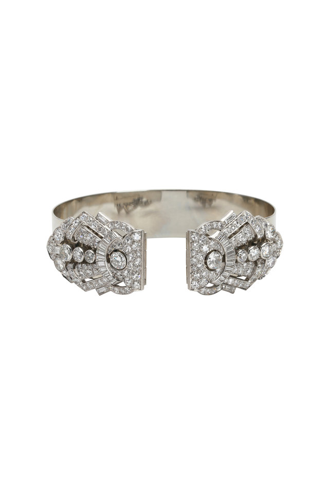 Platinum Diamond Art Deco Bangle