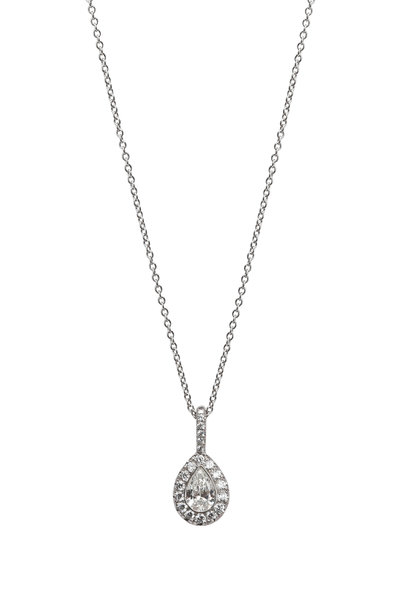 Kwiat - 18K White Gold Diamond Pear Pendant Necklace