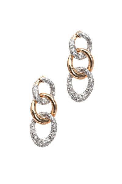 Pomellato - Rose Gold Diamond Link Drop Earrings