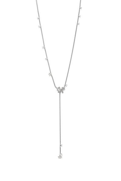Mattia Cielo - 18K White Gold Diamond Lariat Necklace