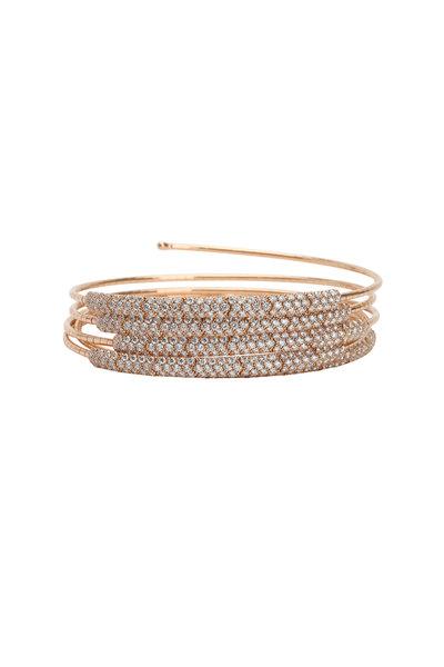 Mattia Cielo - 18K Rose Gold Pavé Diamond 5 Coil Bracelet