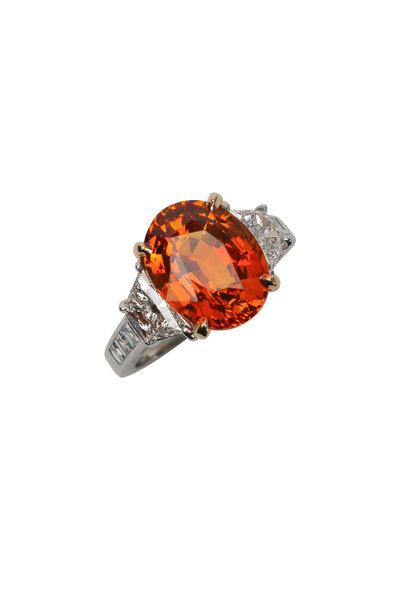 Oscar Heyman - Platinum Orange Sapphire & Diamond Ring