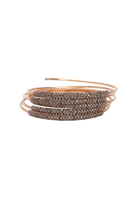 Mattia Cielo 18K Rose Gold Cognac Diamond 5 Coil Bracelet
