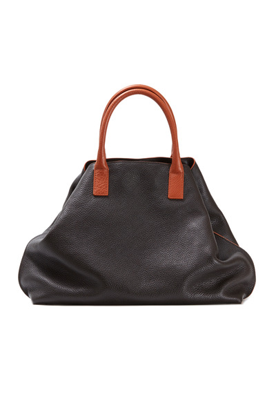 Akris - Ai Cervo Mocca Leather & Orange Trim Medium Tote