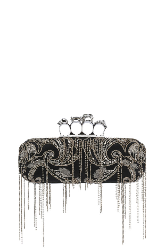 Black Satin Chain Embroidered Knuckle Box Clutch