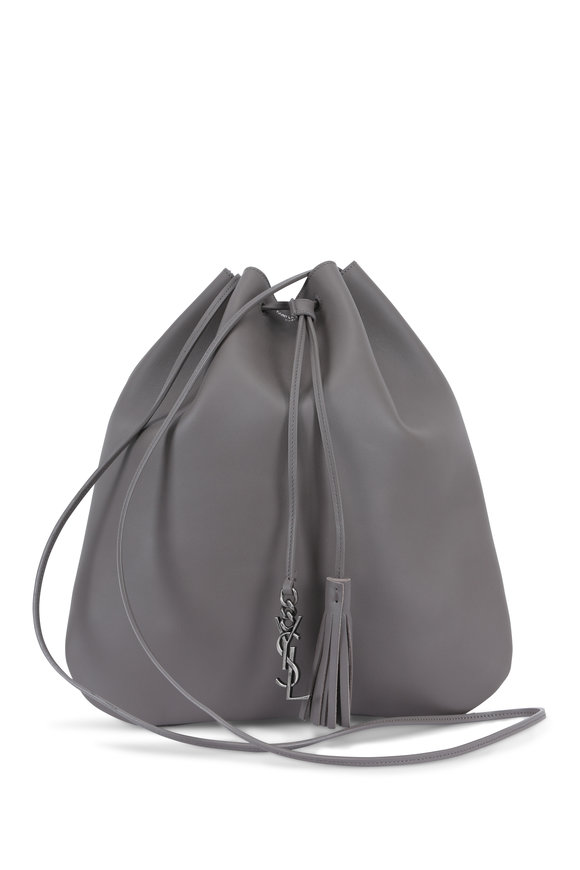 Saint Laurent Jen Gray Leather Medium Drawstring Bucket Bag