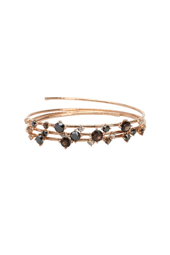 Mattia Cielo Rose Gold Diamond & Quartz 3 Coil Bracelet