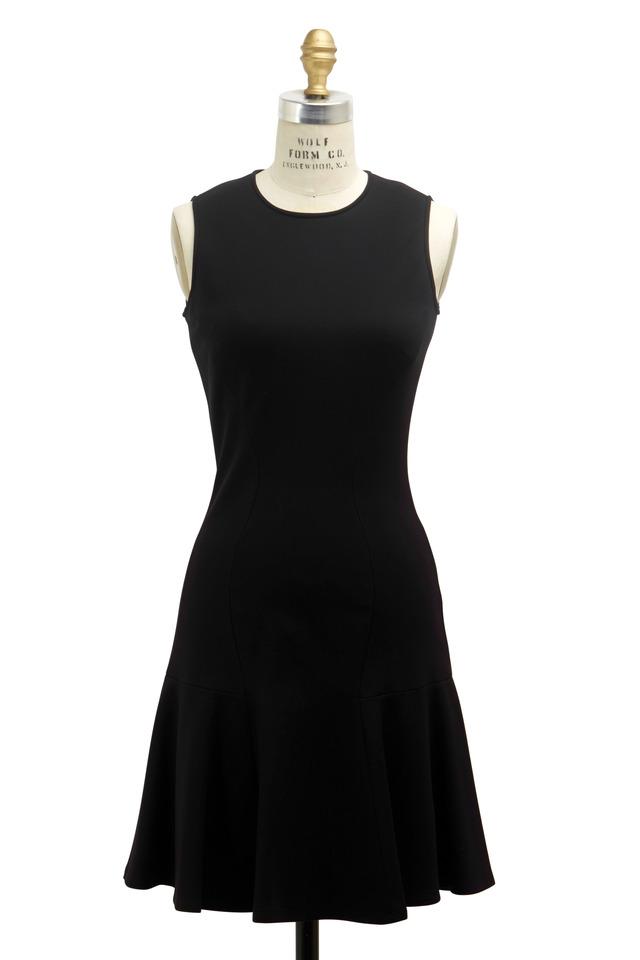 Black Jersey Ponte De Roma Flare Dress