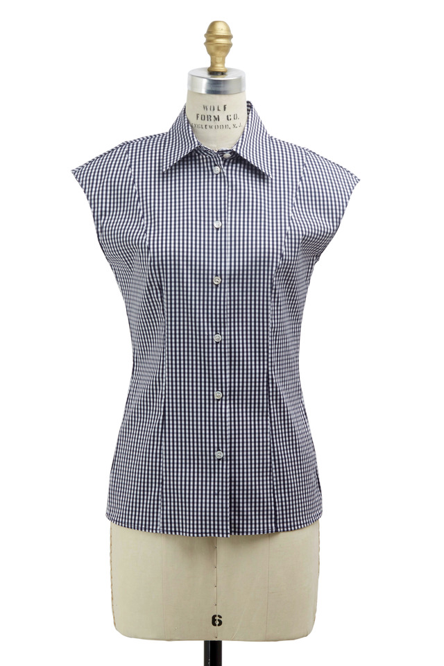 White & Navy Blue Poplin Optic Blouse