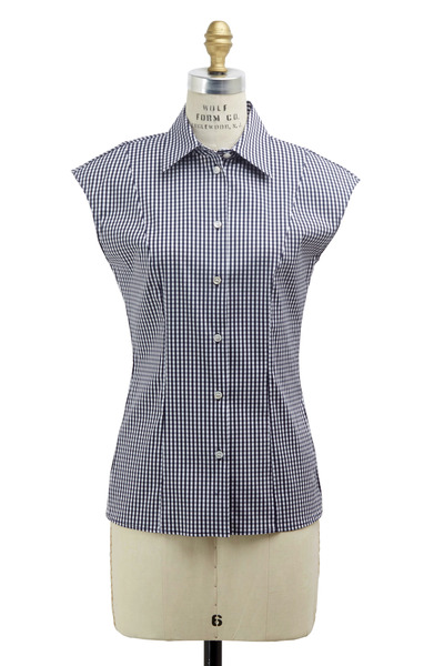 Michael Kors Collection - White & Navy Blue Poplin Optic Blouse