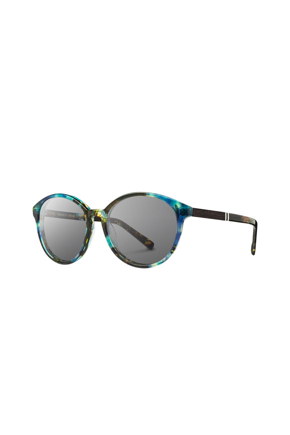 Shwood Bailey Blue Opal Round Sunglasses