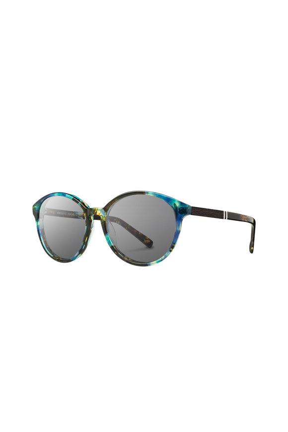 Shwood Bailey Blue Opal Round Sunglasses