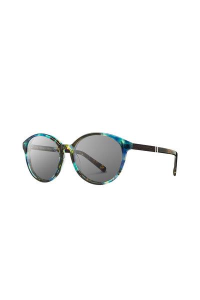 Shwood - Bailey Blue Opal Round Sunglasses