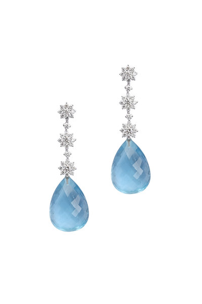 Frank Ancona - 18K White Gold Aquamarine & Diamond Earrings