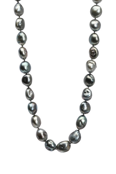 Frank Ancona - Black Tahitian Pearl & Diamond Strand Necklace