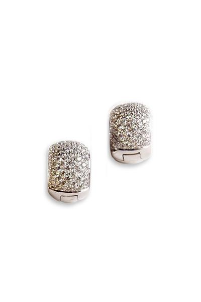Kathleen Dughi - White Gold Pavé-Set White Diamond Huggie Earrings