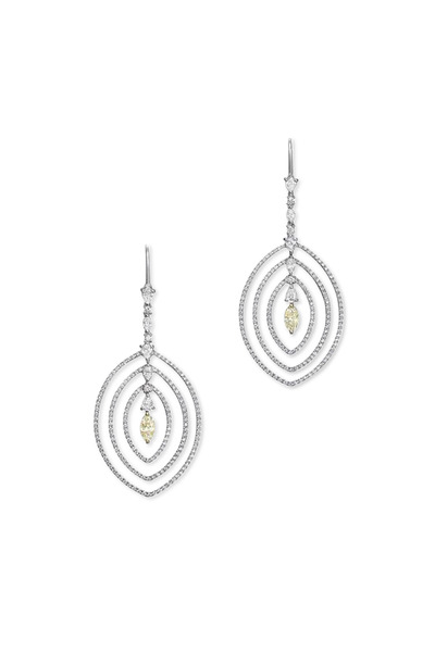 Kathleen Dughi - White Gold Yellow Diamond Campanello Earrings