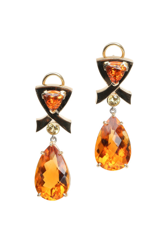 Frank Ancona Yellow Gold Citrine, Garnet & Sapphire Earrings