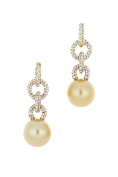 Kathleen Dughi - Gold South Sea Pearl Diamond Beguile Earrings