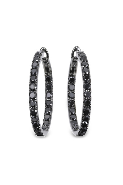 Kathleen Dughi - Mystere II White Gold Black Diamond Hoop Earrings