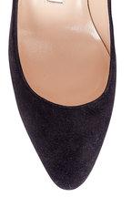 Manolo Blahnik - Lisaqua Black Suede Square Heel Pump, 70mm
