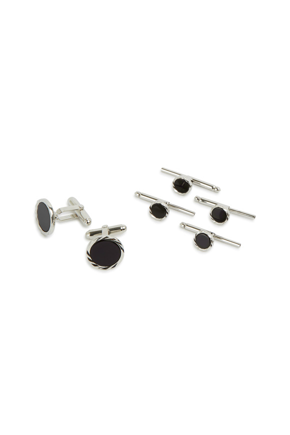 David Donahue Sterling Silver Black Onyx Stud Set