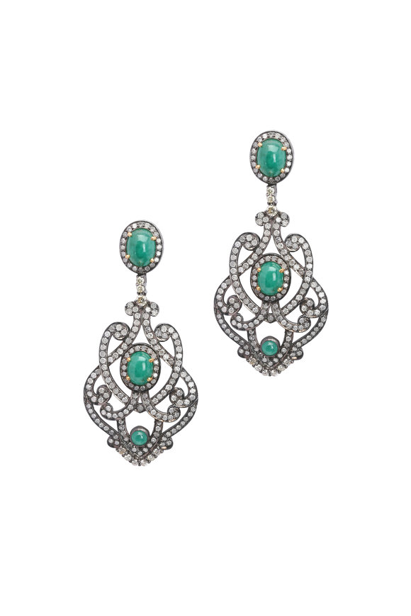 Loren Jewels 18K White Gold & Silver Diamond & Emerald Earrings