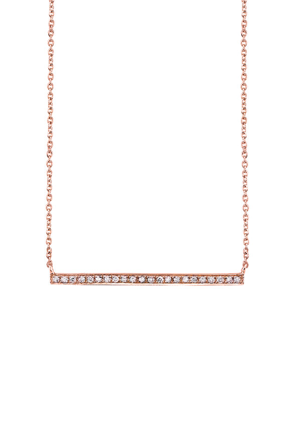 Sydney Evan Rose Gold Micropavé Diamond Long Bar Necklace