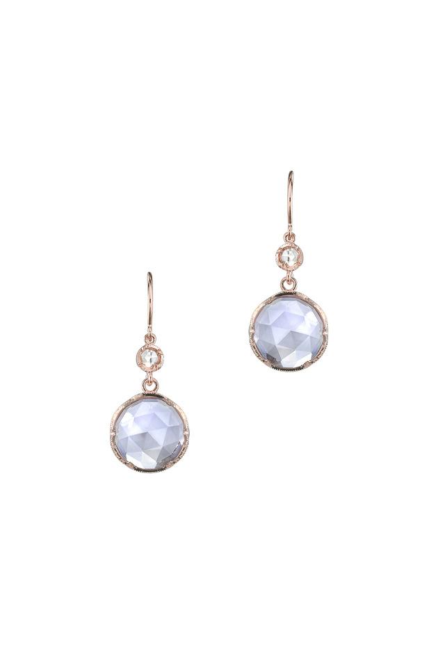 Rose Gold Rose Of France Circle Drop Earrings