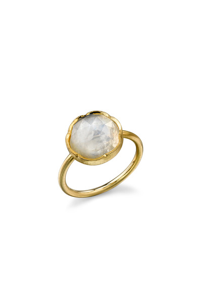 Irene Neuwirth - Yellow Gold Rainbow Moonstone Stack Ring