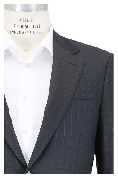 Canali - Charcoal Gray Striped Worsted Wool Suit