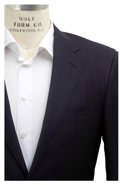 Canali - Navy Blue Striped Worsted Wool Suit