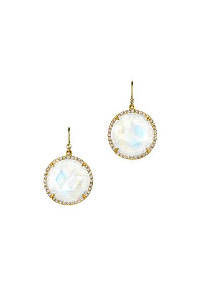 Irene Neuwirth - Yellow Gold Rainbow Moonstone Diamond Earrings