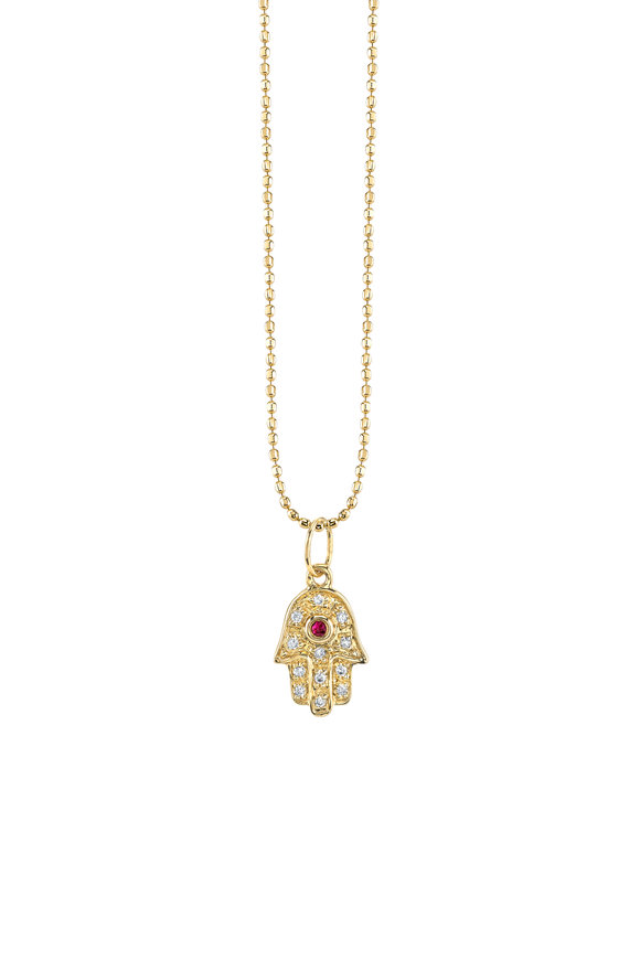 Sydney Evan Yellow Gold Mini Hamsa Ruby & Diamond Necklace