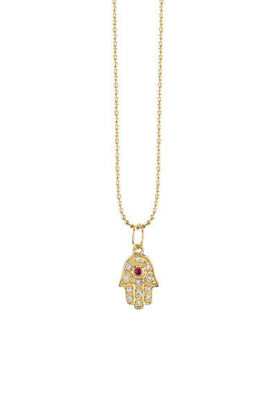 Sydney Evan - Yellow Gold Mini Hamsa Ruby & Diamond Necklace