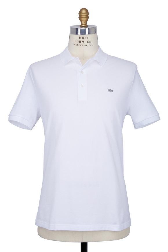 Lacoste White Stretch Piqué Polo