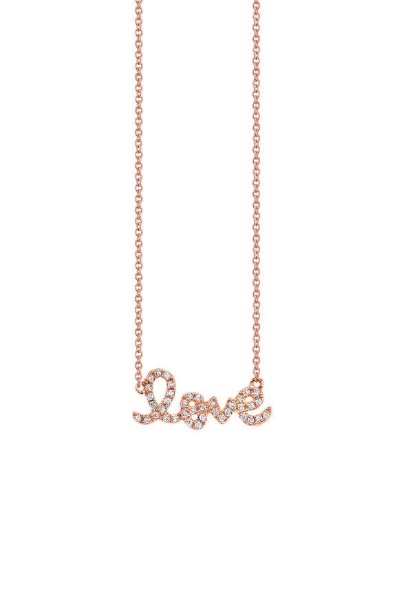 "Sydney Evan Rose Gold Pavé Diamond Small ""Love"" Necklace"