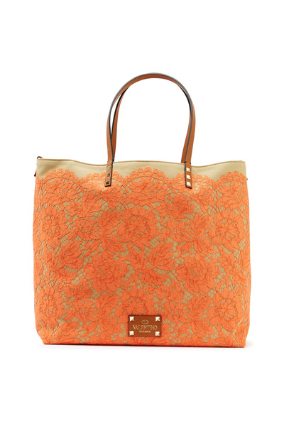 Valentino Garavani - Orange Lace Glam Tote
